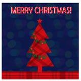 Cartolina d'auguri di Natale con l'albero di Natale sui precedenti della sfuocatura immagini stock libere da diritti