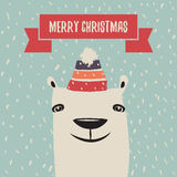 Cartolina d'auguri di Natale con l'orso polare sveglio Fotografie Stock