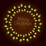 Cartolina d'auguri di Natale con la ghirlanda ed il testo illustrazione vettoriale