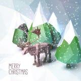 Cartolina d'auguri di Natale con la poli illustrazione bassa Fotografia Stock