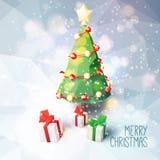 Cartolina d'auguri di Natale con la poli illustrazione bassa Immagine Stock