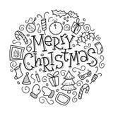Cartolina d'auguri di Natale con la raccolta degli elementi del nuovo anno di scarabocchio Royalty Illustrazione gratis
