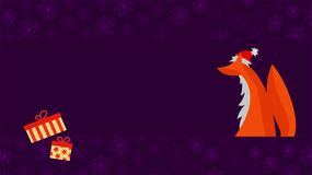 Cartolina d'auguri di Natale con la volpe sveglia Fotografia Stock