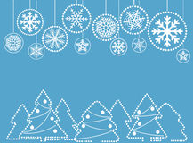 Cartolina d'auguri di Natale con le bagattelle astratte con l'ornamento Fotografia Stock Libera da Diritti