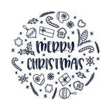Cartolina d'auguri di Natale con le decorazioni di scarabocchio su fondo bianco Ornamento del cerchio di vettore fotografie stock