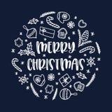Cartolina d'auguri di Natale con le decorazioni di scarabocchio su fondo blu Ornamento del cerchio di vettore fotografie stock libere da diritti