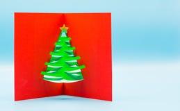 cartolina d'auguri di Natale 3D con progettazione della carta di taglio immagine stock libera da diritti