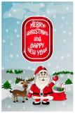 Cartolina d'auguri di natale con Santa Fotografia Stock Libera da Diritti