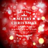Cartolina d'auguri di Natale con tipografia di Natale Fotografia Stock Libera da Diritti