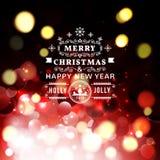 Cartolina d'auguri di Natale con tipografia di Natale Fotografia Stock