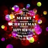 Cartolina d'auguri di Natale con tipografia di Natale, fondo di vettore del bokeh Fotografia Stock Libera da Diritti