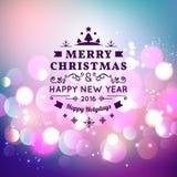 Cartolina d'auguri di Natale con tipografia di Natale, fondo di vettore del bokeh Immagine Stock Libera da Diritti