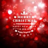 Cartolina d'auguri di Natale con tipografia di Natale, fondo di vettore del bokeh Fotografia Stock