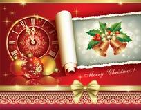 Cartolina d'auguri di Natale 2014 con un orologio e le palle Immagini Stock