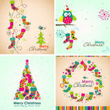 Cartolina d'auguri di Natale del modello, stivale, albero, vettore Fotografie Stock Libere da Diritti