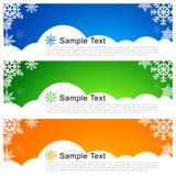 Cartolina d'auguri di Natale di vettore con i fiocchi di neve Fotografia Stock Libera da Diritti