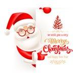 Cartolina d'auguri di Natale e di Santa Claus Fotografia Stock Libera da Diritti