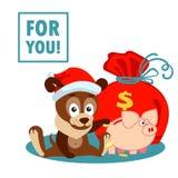 Cartolina d'auguri di Natale o del nuovo anno con il cane, borsa e maiale e riguardi del salvadanaio per voi Fotografie Stock Libere da Diritti