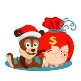 Cartolina d'auguri di Natale o del nuovo anno con il cane, la borsa ed il banca-maiale Immagini Stock