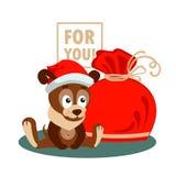 Cartolina d'auguri di Natale o del nuovo anno con il cane, la borsa ed i riguardi per voi Fotografia Stock Libera da Diritti