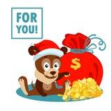 Cartolina d'auguri di Natale o del nuovo anno con il cane, la borsa ed il mucchio delle monete di oro Immagini Stock Libere da Diritti