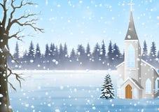 Cartolina d'auguri di Natale, paesaggio di inverno con la chiesa illustrazione di stock