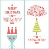 Cartolina d'auguri di Natale per il caffè di progettazione con l'albero Immagini Stock