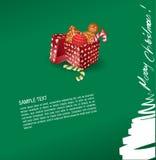 Cartolina d'auguri di natale - presente, dolce, gingerbr Immagine Stock