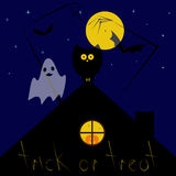Cartolina d'auguri di notte di Halloween Fotografia Stock