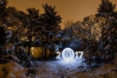 Cartolina d'auguri di 2017 nuovi anni con la foresta di notte Immagini Stock