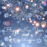 Cartolina d'auguri di nuovo anno Congratulazioni su natale Carta disegnata a mano dell'ornamento del pizzo del cerchio Immagini Stock