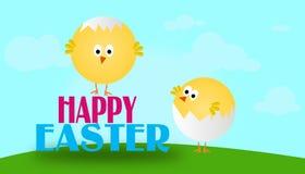 Cartolina d'auguri di Pasqua con i polli Immagini Stock