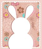 Cartolina d'auguri di Pasqua con il coniglietto Immagini Stock Libere da Diritti