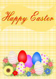 Cartolina d'auguri di Pasqua con le uova di Pasqua ed i fiori Fotografia Stock Libera da Diritti