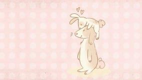 Cartolina d'auguri di Pasqua con un'illustrazione sveglia di due coniglietti fotografia stock libera da diritti