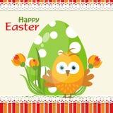 Cartolina d'auguri di Pasqua del modello, pulcino, vettore Fotografia Stock