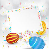 Cartolina d'auguri di Pasqua, insegna di carta, coriandoli ed uovo di Pasqua Immagine Stock Libera da Diritti