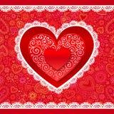 Cartolina d'auguri di pizzo dei cuori di giorno di biglietti di S. Valentino di vettore Fotografie Stock