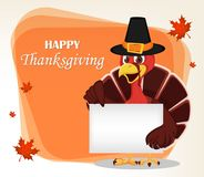 Cartolina d'auguri di ringraziamento con un uccello del tacchino che indossa un pellegrino illustrazione vettoriale
