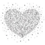 Cartolina d'auguri di San Valentino della st del cuore del fiore della pagina di coloritura Fotografia Stock Libera da Diritti