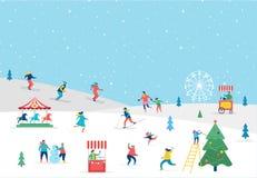 Cartolina d'auguri di scena degli sport invernali illustrazione di stock