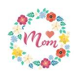 Cartolina d'auguri di titolo della mamma con la corona floreale Fotografia Stock
