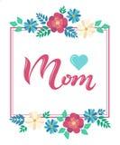 Cartolina d'auguri di titolo della mamma con la struttura floreale Immagine Stock