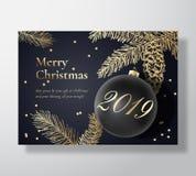 Cartolina d'auguri di vettore di Buon Natale, manifesto o fondo astratto di festa Colori di classe dell'oro e del nero, scintilli Royalty Illustrazione gratis