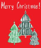 Cartolina d'auguri di vettore con gli alberi di Natale Fotografie Stock