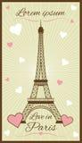 Cartolina d'auguri di vettore con la torre Eiffel Fotografia Stock