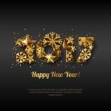 Cartolina d'auguri di vettore del buon anno 2017 con i numeri dorati Fondo d'ardore nero di festa astratta illustrazione di stock