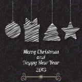 Cartolina d'auguri di vettore dell'nuovo anno e di Natale Fotografie Stock