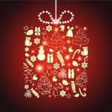 Cartolina d'auguri di vettore dell'nuovo anno e di Natale Fotografia Stock