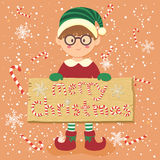 Cartolina d'auguri di vettore di Candy Cane Christmas Elf Glasses Boy del bordo Immagini Stock